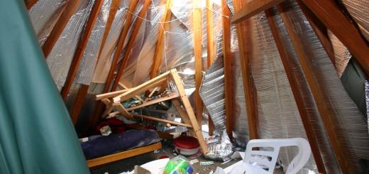 wreckage inside yurt