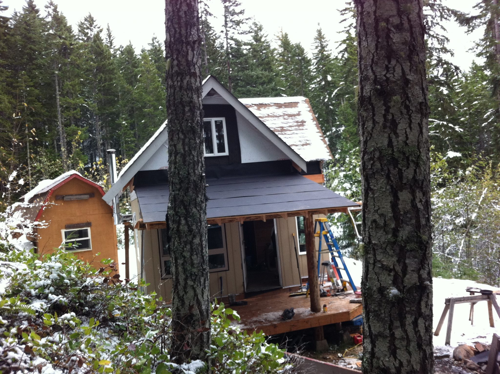 Solar Burrito off grid cabin porch roof