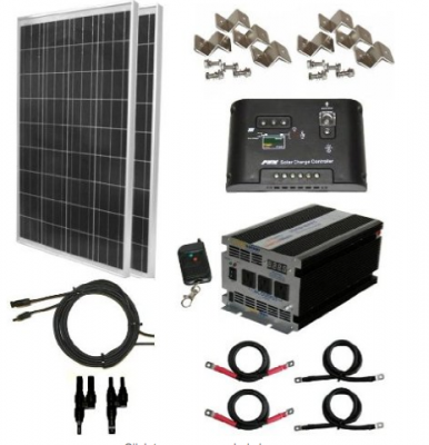 200 Watt Solar Panel Kit with 1500W VertaMax Power Inverter for RV, Boat, Off-Grid 12 Volt Battery Systems